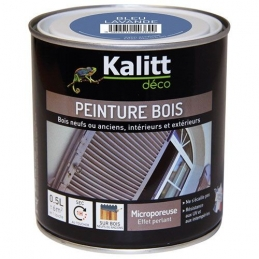 Peinture bois - Microporeuse - Satin - Bleu lavande - 0.5 L - KALITT