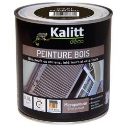 Peinture bois - Microporeuse - Satin - Brun Normand - 0.5 L - KALITT