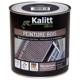 Peinture bois - Microporeuse - Satin - Gris anthracite - 0.5 L - KALITT