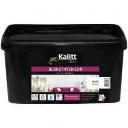 Peinture Murs et plafonds - Monocouche - Acrylique - Velours - Blanc - 2.5 L - KALITT