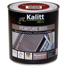 Peinture bois - Microporeuse - Satin - Rouge basque - 0.5 L - KALITT