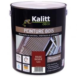 Peinture bois - Microporeuse - Satin - Rouge basque - 2.5 L - KALITT