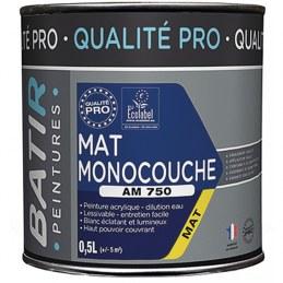 Peinture monocouche - Aspect Mat - Blanc - 0.5 L - BATIR