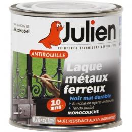 Laque métaux ferreux antirouille - Noir mat - 250 ml - JULIEN
