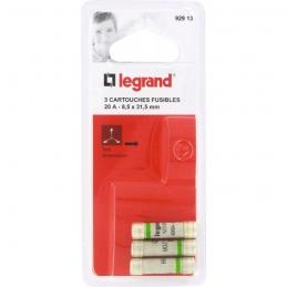 Cartouche domestique cylindrique - 20 A - 8.5 x 31.5 mm - Lot de 3 - LEGRAND