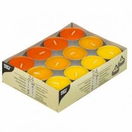 "24 bougies Chauffe-plats - Ø 38 mm · 16 mm ""Bordeaux, Terra, Ocre"" - PAPSTAR"
