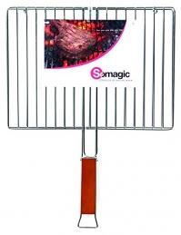 Grille métallique pour barbecue - Double - Rectangulaire - 40 x 29 cm - SOMAGIC