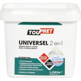 Enduit universel 2 en 1 - Lissage et rebouchage - 1.25 Kg - TOUPRET