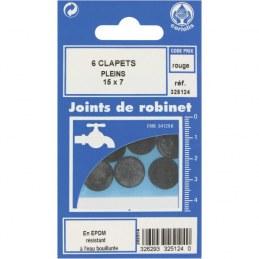 Joint Clapet plein Robinet - 15 x 7 mm - Lot de 6 - GRIPP