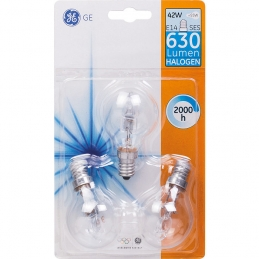 Ampoule Halogène Eco Sphérique E14 - 240 V - 42 W - Lot de 3 - GE LIGHTING