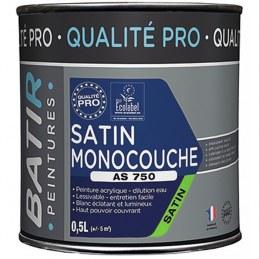 Peinture monocouche - Aspect Mat - Satiné - 0.5 L - BATIR