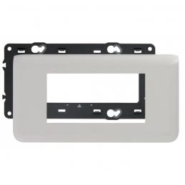 Plaque avec support Mosaic - pour 4 modules montage horizontal - Blanc - LEGRAND