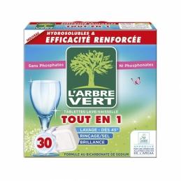 Tablettes Hydrosolubles tout-en-un pour lave-vaiselle - Sans parfum - 30 tablettes - L'ARBRE VERT