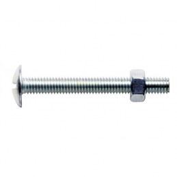 Boulons poêliers tête ronde large fendue en croix acier zingué blanc GFD - Longueur 20 mm - Diamètre 5 mm - Vendu par 200