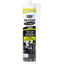 Mastic silicone pour joint sur tous supports sanitaires Cartouche - 280 ml - Noir