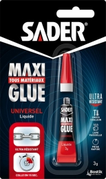 Colle cyanoacrylate universelle - Maxiglue Liquide - 3 Grs - SADER