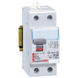 Interrupteur différentiel bipolaire - Type A 30 mA arrivée haut/départ bas 63 A - Sans peigne - LEGRAND