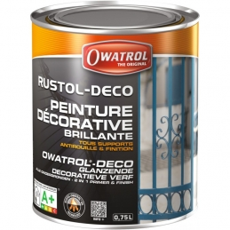 Peinture décorative brillante - Antirouille et finition - Blanc - 750 ml - OWATROL