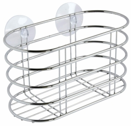 Panier de rangement en métal chrome - Ventouse - Collection Broadway - GELCO
