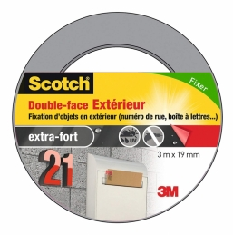Ruban adhésif double face - Extra fort - 3 x 19 mm - SCOTCH