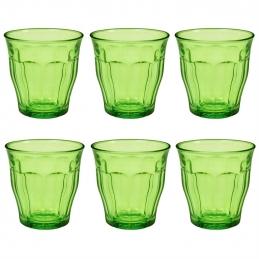 6 verres Picardie - Verre trempé - 25 cl - Vert - DURALEX