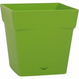 Pot à fleur carré - soucoupe clipsée réserve d'eau - Gamme Toscane - 10.2 L - Vert matcha - EDA