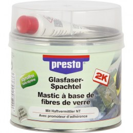 Mastic polyester avec fibre de verre - 1 Kg - Gris clair - PRESTO
