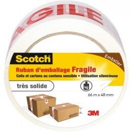 Ruban adhésif d'emballage marquage Fragile Scotch - 66 m