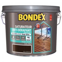 Saturateur bois - Anti-dérapant - Stop Gliss - Teck chocolat - 2.5 L - BONDEX