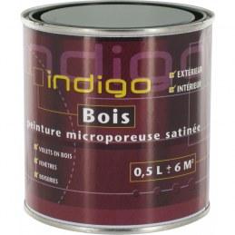 Peinture satinée microporeuse pour bois - Vert Marin - 500 ml - INDIGO