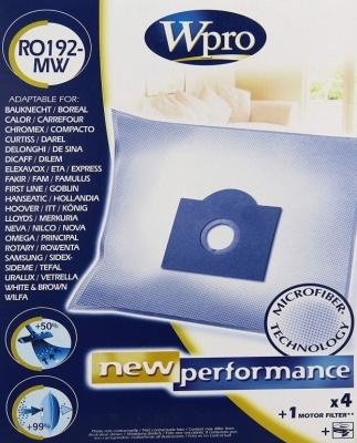 4 sacs aspirateurs + 1 microfibre - RO192-MW - WPRO