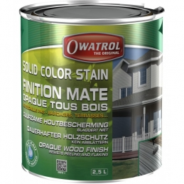 Laque de finition pour bois - Opaque Mate - Solid Color Stain - Gris antique - 2.5 L - OWATROL