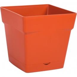 Pot à fleur carré - soucoupe clipsée réserve d'eau - Gamme Toscane - 3.4 L - Potiron - EDA