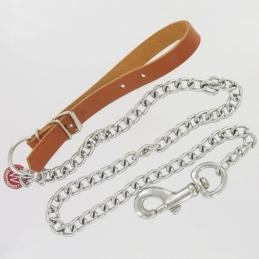 Laisse cuir et chaîne - 94 cm - WOUAPY