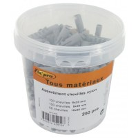 Assortiment de chevilles nylon - Pot de 250 - FIX'PRO