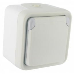 Prise de courant et volet de protection IP 55 Plexo complet apparent - Blanc - LEGRAND
