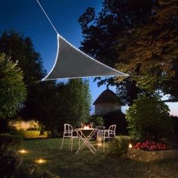 Voile d'ombrage triangulaire - Bordures en Leds solaires - Ardoise - MOREL