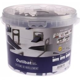 Kit de croisillons auto-nivelant avec cales et pince - 1 mm - OUTIBAT