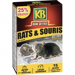 Raticide - Bloc Brodifacoum - Action radicale - Rats et souris - 15 Blocs - KB