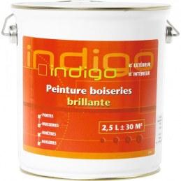 Peinture brillante pour boisseries - Blanc - 2.5 L - INDIGO