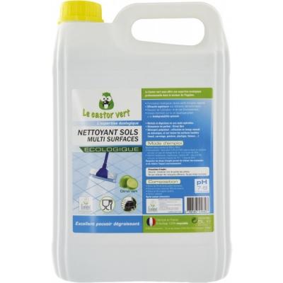 Nettoyant sols multi-surfaces - Citron Vert - 5 L - Écologique - LE CASTOR VERT
