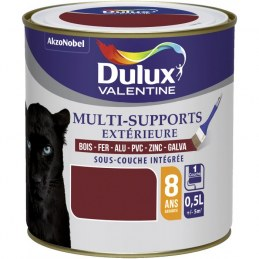 Peinture multi-supports extérieure - Satin - 0.5 L - Rouge basque - DULUX VALENTINE