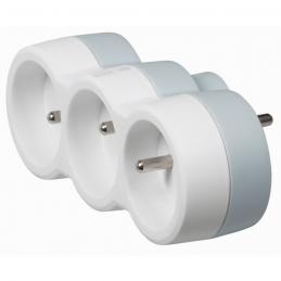 Fiche multiprise avec terre - plastique - 3 sorties frontales - Blanc - LEGRAND