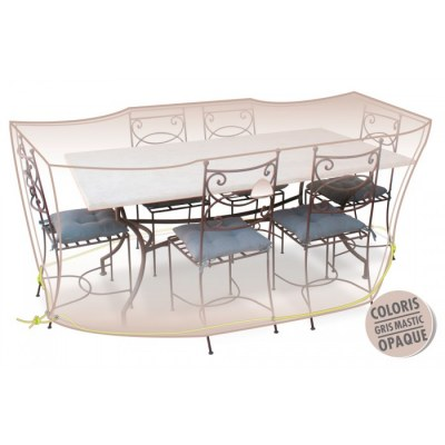 Housse de protection - Table + chaises 6/8 pers - Gris mastic - MOREL