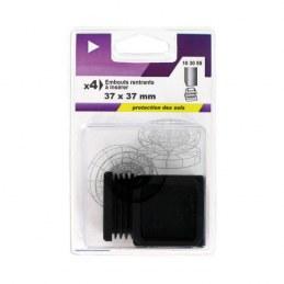 Embout rentrant carré en plastique noir 37mm - VYNEX