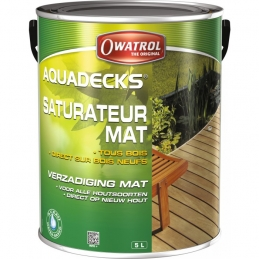 Saturateur bois en phase aqueuse - AQUADECKS - Miel - 5 L - OWATROL