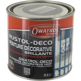 Peinture décorative brillante - Antirouille et finition - Gris - 500 ml - OWATROL