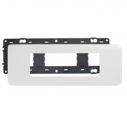 Plaque avec support Mosaic - pour 6 modules montage horizontal - Blanc - LEGRAND