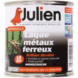Laque métaux ferreux antirouille - Noir brillant - 250 ml - JULIEN
