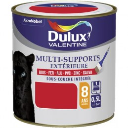 Peinture multi-supports extérieure - Satin - 0.5 L - Rouge coquelicot - DULUX VALENTINE